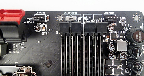 The OC Genie Mode switch is located near the DIMM slots. In the photo, the Gear 1 mode is engaged, if the switch is moved to the opposite side, the Gear 2 mode will be engaged.
