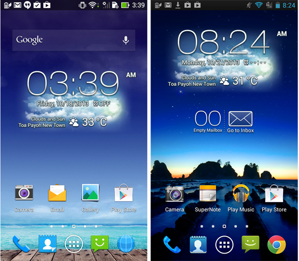 New PadFone Infinity OS on the left with flatter, simplified icons.