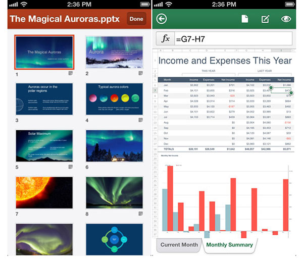 Screenshots of Office Mobile for iPhone. (Image Source: Apple)