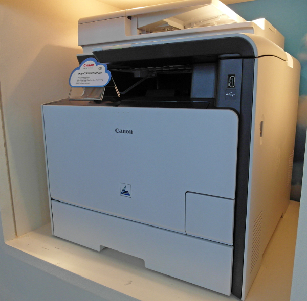 This large one over here is the Canon imageCLASS MF8580Cdw, One of the new batch of Canon laser printers unveiled which supports wireless printing via Apple AirPrint and Google Cloud Print.