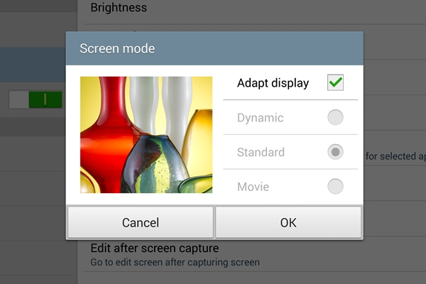 You can choose what screen mode to use on the Samsung Galaxy Note 10.1 2014 Edition.