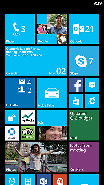 With GDR3's new 3-column layout for large screen phones, you can have up to six small square tiles, or three medium square tiles. (Image source: Microsoft.)