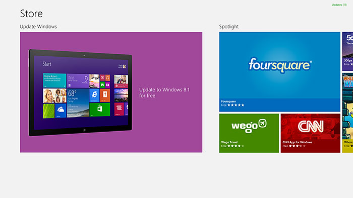 How to update from Windows 8 to Windows 8.1? Just fire up Windows Store, and download away!