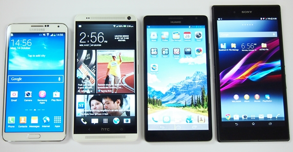 Consumers have more choices when it comes to choosing which phablet to buy this year. <br> Left to right: Samsung Galaxy Note 3, HTC One Max, Huawei Ascend Mate and Sony Xperia Z Ultra.