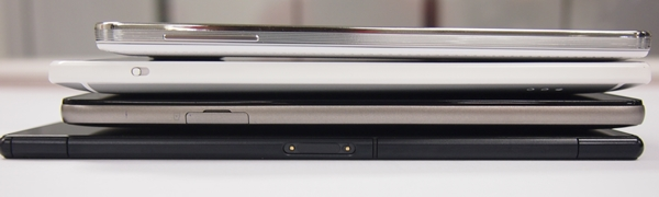 From top to bottom: Samsung Galaxy Note 3, HTC One Max, Huawei Ascend Mate, and Sony Xperia Z Ultra.