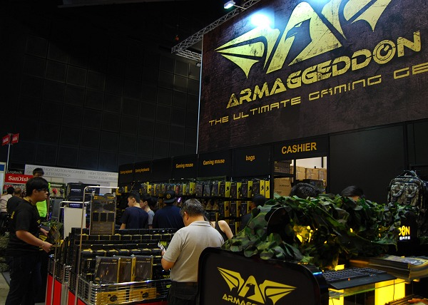 At Armaggeddon's booth, their core focus was on the gaming input devices.