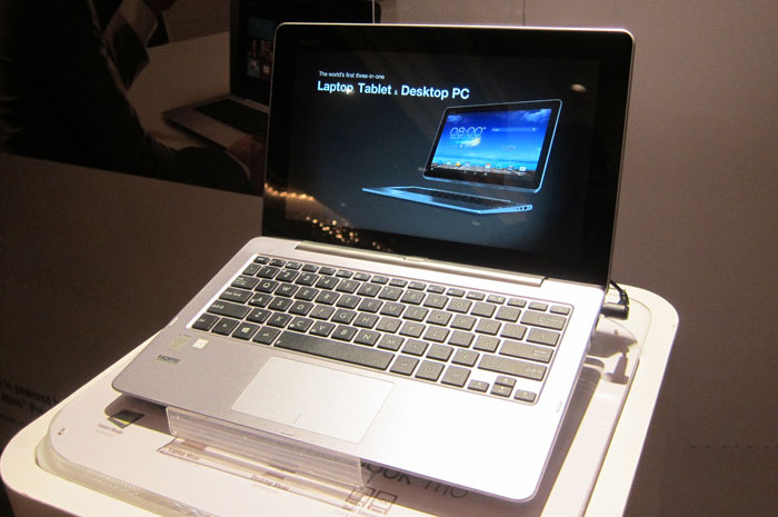 The ASUS Transformer Book Trio is a unique hybrid device that has two processors, one in the display and one in the keyboard dock, which allows it to be used in three different modes -- tablet, notebook and desktop PC.