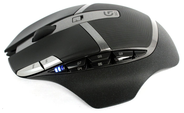 The G602 has six thumb buttons, two DPI buttons, and right, left and middle click buttons for a total of eleven configurable buttons.