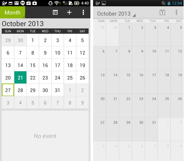A few apps have also been given a fresh look (new PadFone Infinity calendar on the left)