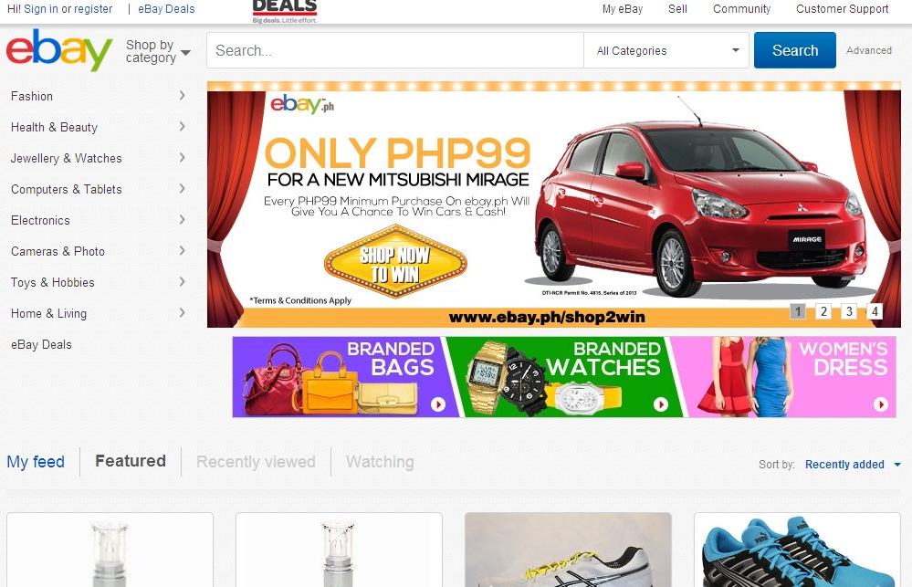 A screenshot of eBay.PH website