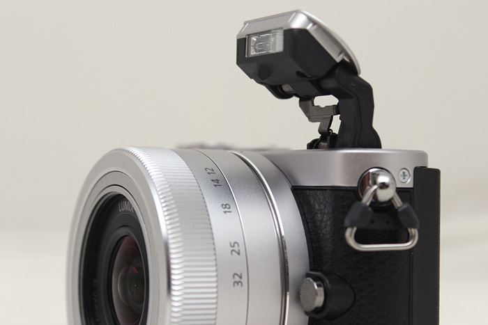 Despite its size, Panasonic managed to fit a flash onto the GM1, thanks to a new vertical design.
