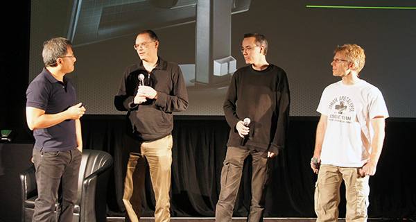 John Carmack (far right), was photographed at NVIDIA's gaming technologies event held in Montreal, Canada last week.