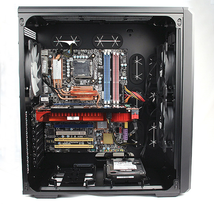 A look at the casing with the components installed. It is pretty spacious, and with the PSU on the opposite side, free from cable clutter.