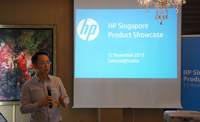 Andy Wong, Director Personal Systems Category, Printing and Personal Systems, addressing the attendees and sharing HP's new products.