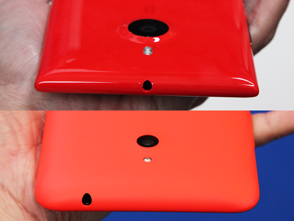 The headphone jack on the Lumia 1520 is centered (top), while the Lumia 1320 is located to the left (bottom).