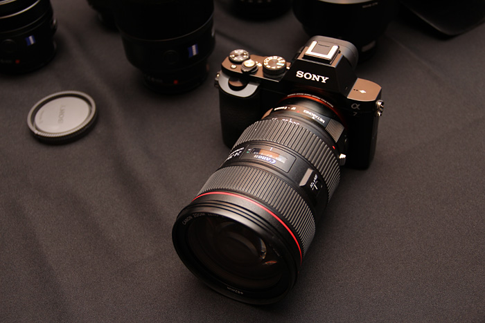 You never thought you'd see it at a Sony event, but here's a Canon 24-70mm L lens mounted on a A7 with a Metabones adapter.