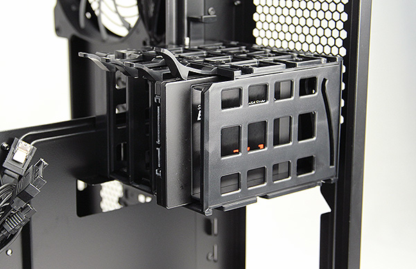 The SSD cage holds up to four 2.5-inch SSDs or hard drives.