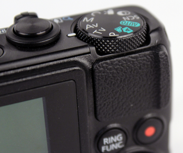 While the PowerShot S120 lacks a finger grip on the front, thankfully there's a thumb rest on the back.