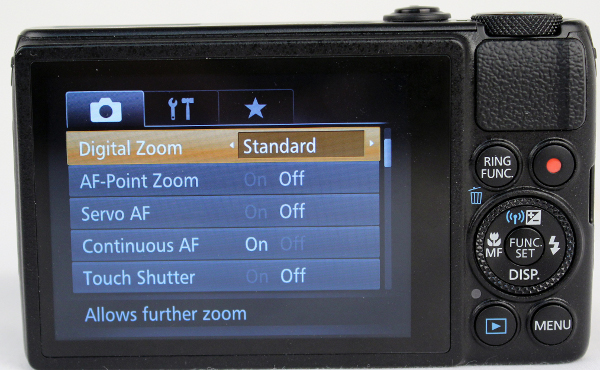The Menu button brings up the camera's general settings.