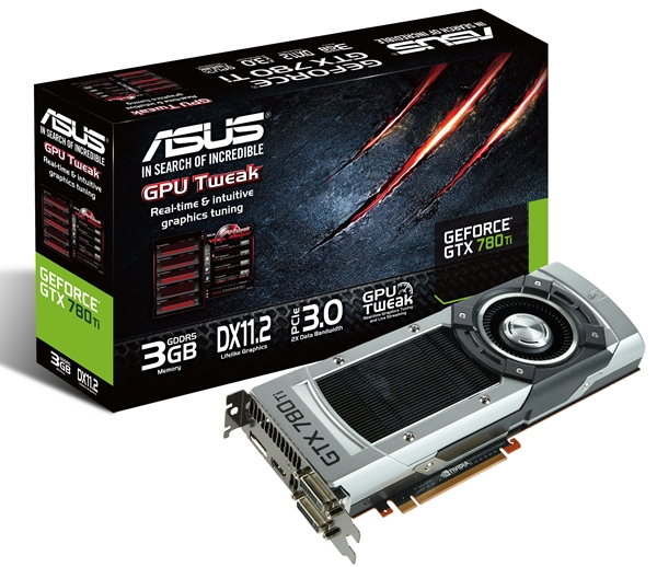 The ASUS GeForce GTX 780 Ti 3GB GDDR5 (GTX780TI-3GD5) is available now, with a suggested retail price of S$1,089. (Image Source: ASUS)