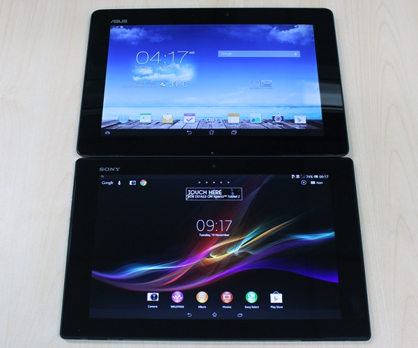 There is a lot of unused space around the displays of the ASUS Transformer Pad TF701T (top) and Sony Xperia Tablet Z (bottom).