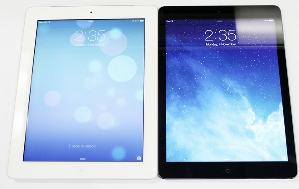 Side by side comparison between the Apple iPad 3 (left) and iPad Air (right).