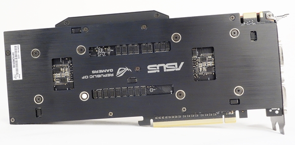 The back plate of the card sports the ASUS Republic of Gamers' branding.