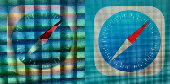Safari icon comparison between the Apple iPad Mini (left) and iPad Mini with Retina Display (right).