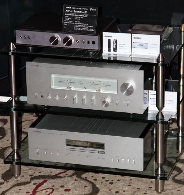 A truly envious personal listening setup with the ASUS Essence III on top, the Yamaha A-S3000 amplifier in the middle and the Yamaha CD-S3000 at the bottom.