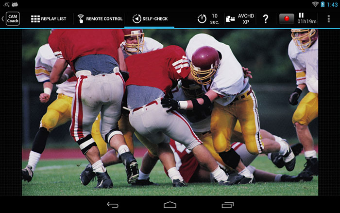 The JVC Cam Coach tablet app lets you transfer images recorded by the camcorder to a tablet over a Wi-Fi connection. You can use it for playback, displaying two images for comparison, self-checking, and more. (Image source: Google Play Store.)