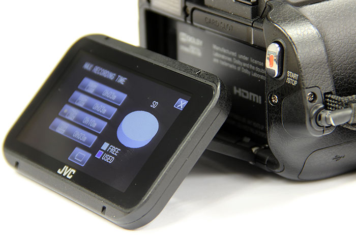 A tiltable LCD allows you to hold the camcorder at different positions, and still see what you're shooting.