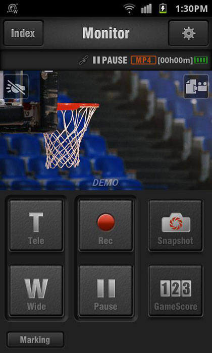 The JVC Wireless Sync mobile app lets you check images on the camera from a distance; video/photo capture and zooming can still be done. Shown here is the recording screen. (Image source: iTunes App Store.)