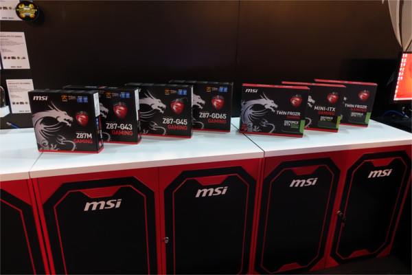 MSI gaming motherboards and graphics cards.