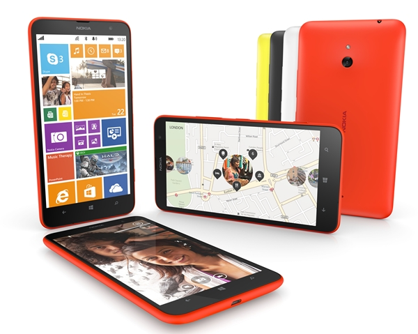 The Lumia 1320 will be available in four colours – orange, yellow, white, and black. <br> Image source: Nokia