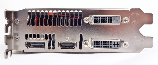 Pictured here are the video connectivity ports consisting of  two DVI ports, one HDMI port and one DisplayPort.