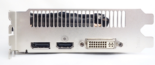 The video ports consist of a single DVI-I port, one HDMI, and one DisplayPort port.