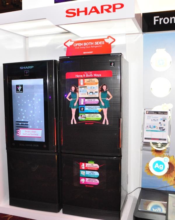 The Sharp SJBW30PBK Dual Swing Door Refrigerator.
