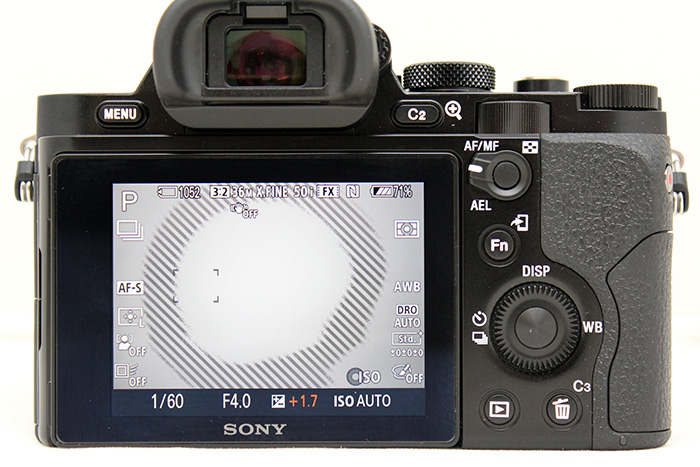 The A7R comes with both zebra (for blowout warnings) and focus peaking (to aid manual focus).