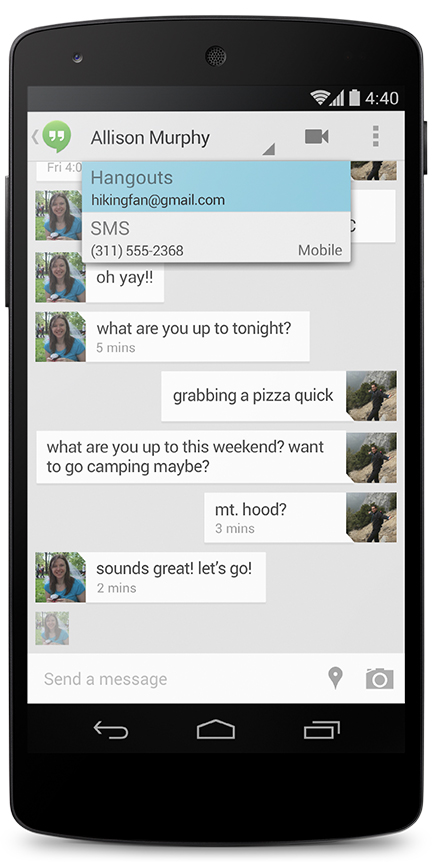 Google Hangouts now includes support for SMS and MMS so all of your conversations can be in the same place.