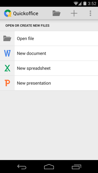 QuickOffice supports the editing of documents, spreadsheets and presentations created in Microsoft Office or Google Docs