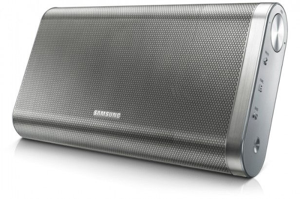 Brandishing a classic portable speakers look, the Samsung DA-F61 sports a silver mesh and metallic accents.