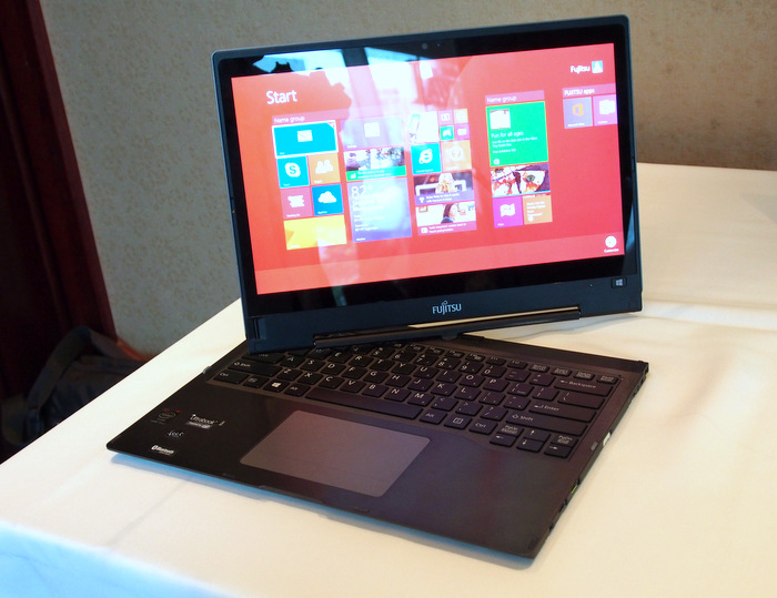 The Fujitsu Lifebook T904 has a swivel mechanism that lets it swivel its display into any angle you want.
