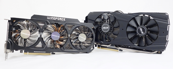 On the left is the Gigabyte GeForce GTX 780 Ti Windforce 3x OC, and on the right is the ASUS GeForce GTX 780 Ti DirectCU II OC.