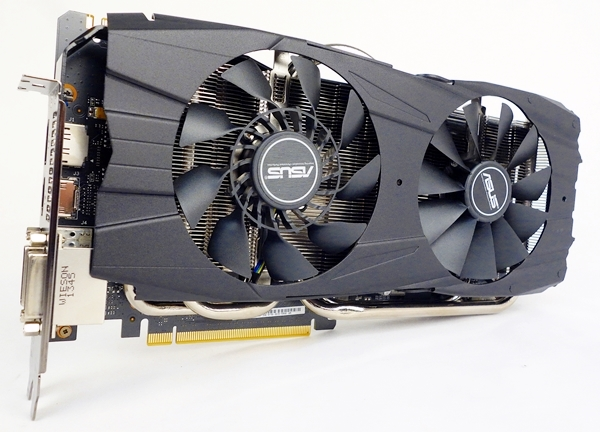 The ASUS GeForce GTX 780 Ti DirectCU II OC card, with its unembellished, matte black fan shroud.
