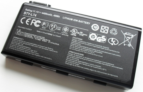 A laptop's li-ion battery. (Image source: Wikipedia.)