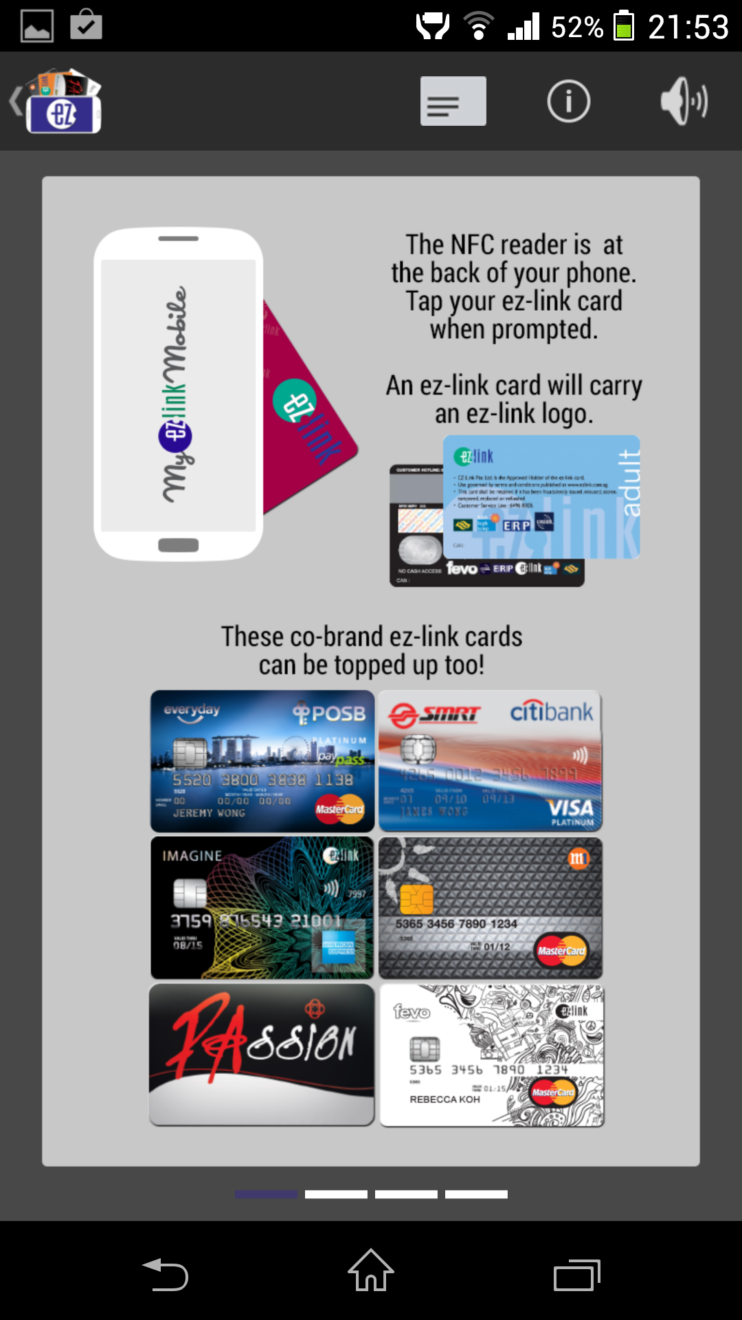 The app also supports a variety of co-brand ez-link cards.