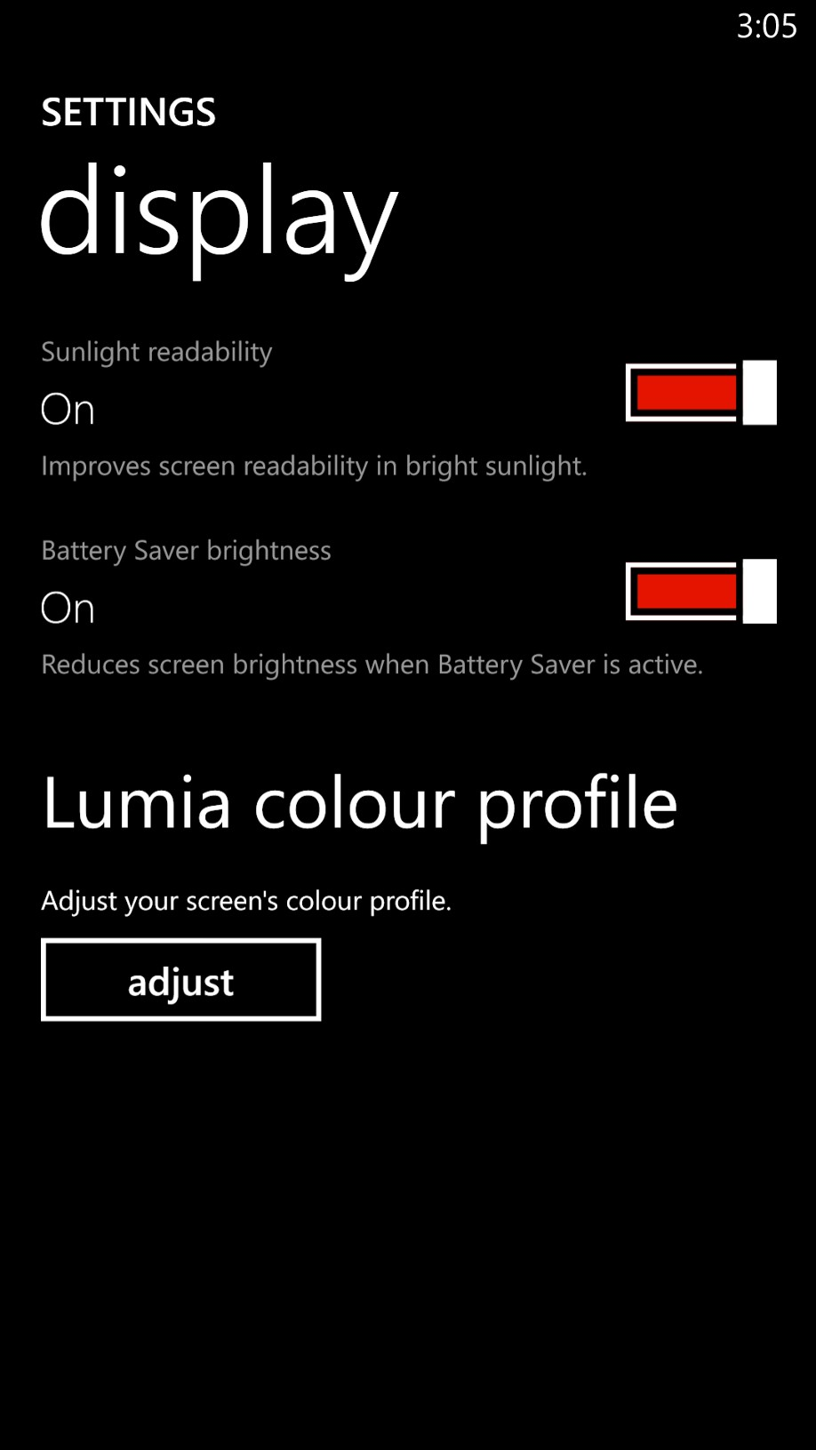 Most high-end Nokia Lumia smartphones come with a setting that allows you to adjust the color profile.
