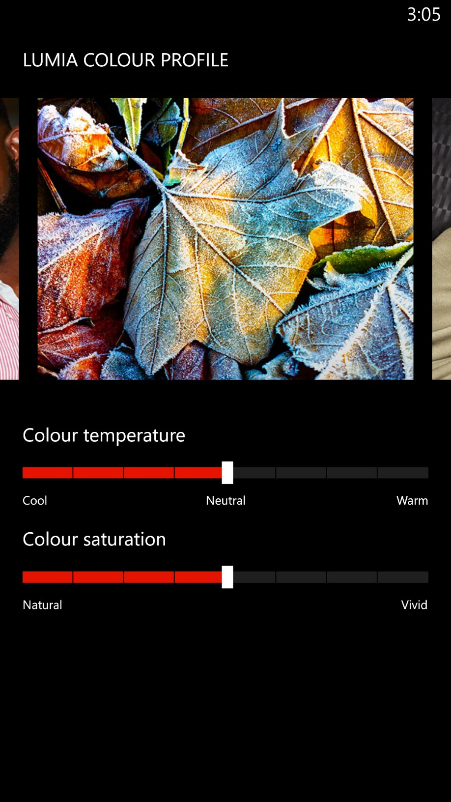 You adjust the color profile by changing the temperature and/or saturation.