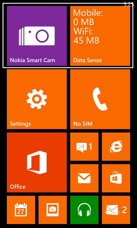 Nokia Smart Cam and DataSense app are preloaded on the Nokia Lumia 625. DataSense enables you to monitor the amount of data you have used on both ceullar and Wi-Fi networks.