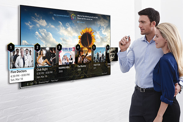 You can use voice control to select content recommended by the TV. (Image source: Samsung Tomorrow.)